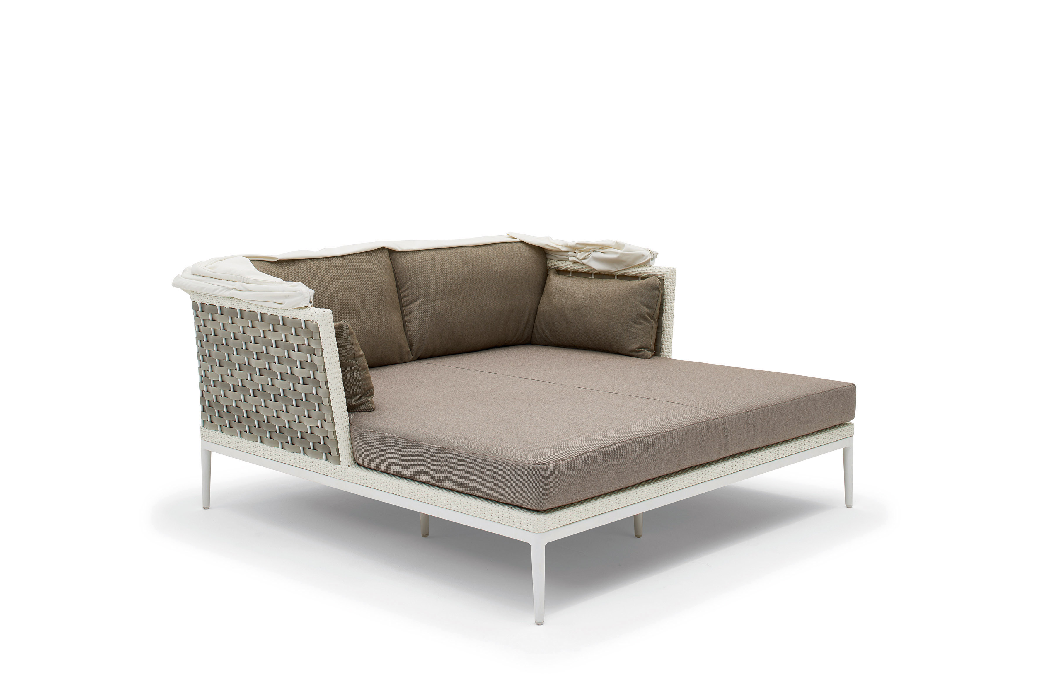 Divano letto da giardino in fibra sintetica intrecciata a - Letto da giardino ...