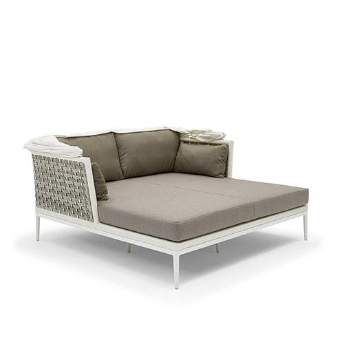 Divano letto da giardino in fibra sintetica intrecciata a - Divano letto 160 cm mondo convenienza ...